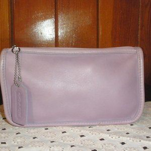 COACH VINTAGE LILAC LEATHER COSMETIC MAKEUP POUCH
